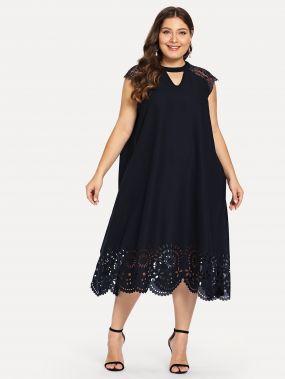 Плюс размеры вставки кружева платье с ажурным низом