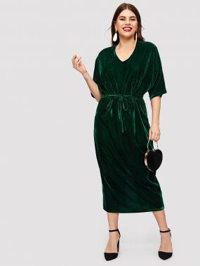 Размер плюс бархатное открытое платье с узелом и разрезом