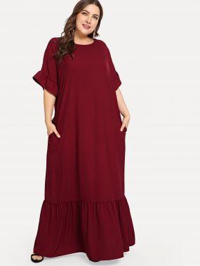 Плюс размеры платье с отделкой оборкой с карманом