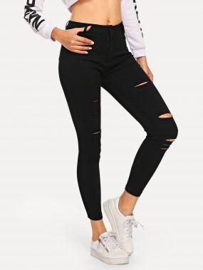 Обтягивающие джинсы с разрезами