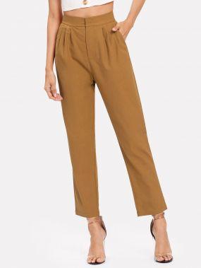 Плиссированные простые брюки