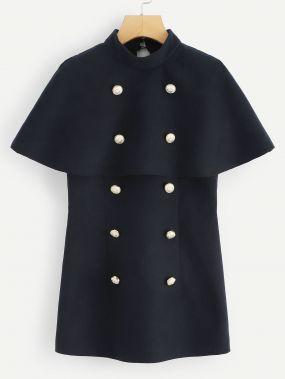 Двубортное пальто пончо с вставкой
