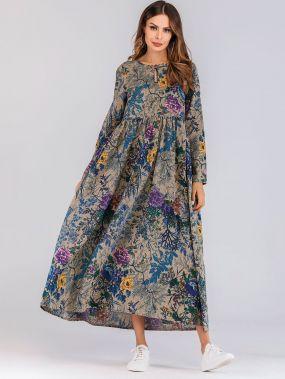 Длинное платье с карманом и цветочным принтом