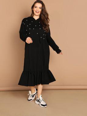 Платье с оборками с жемчугами размера плюс