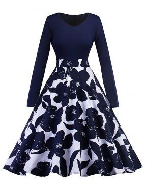 50s платье клёш с принтом цветочным