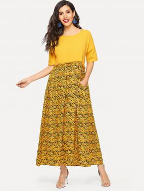 Платье с невидимыми карманами и заниженной линией плеч с цветочным принтом
