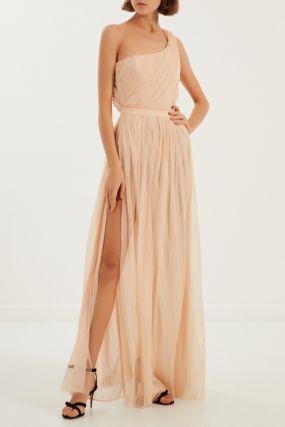 Бежевое асимметричное платье
