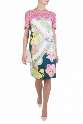 Платье с цветочным принтом и розовым кружевом