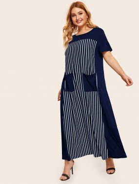 Полосатое платье размера плюс с карманом