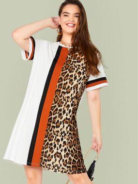 Леопардовое кроить и шить платье размера плюс