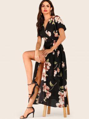 Платье на запах с завязкой сбоку и цветочным принтом