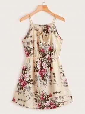 Платье с цветочным принтом, завязкой на шее и высокой талией