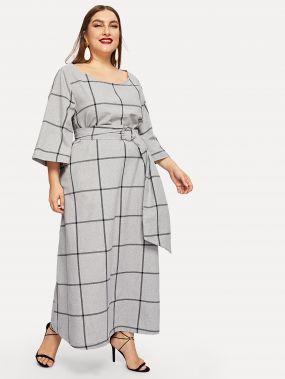 Размер плюс платье в клетку с глубоким и круглым воротником и поясом
