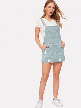 Рваное джинсовое платье с необработанным низом