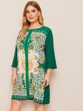 Платье с оригинальным принтом размера плюс