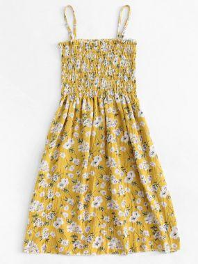 Размера плюс цветочное платье на бретелях с оборкой
