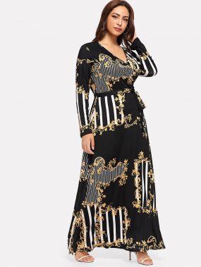 Плюс размеры с смешанной печатью макси платье с запахом