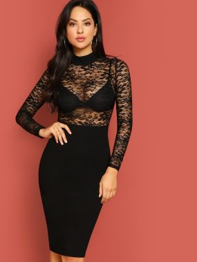 Кружевное стильное платье со стоячим воротником без бюстгальтера