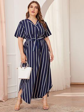 Платье в полоску размера плюс