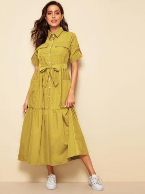 Платье-рубашка с карманом и поясом