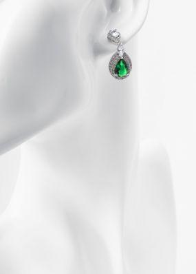 Серьги со стразами и зеленым кристаллом 8063-11