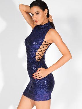 LOVE&LEMONADE облегающее платье-мини на шнуровке с воротником-стойкой