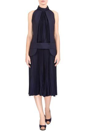 Комбинированное синее платье миди