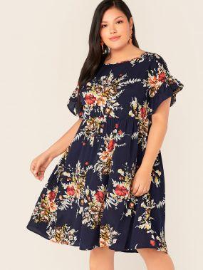 Платье с оригинальным рукавом и цветочным принтом размера плюс