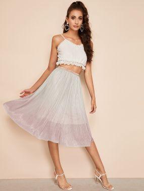 Блестящая юбка-клеш