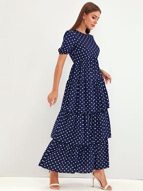 Платье в горошек с высокой талией