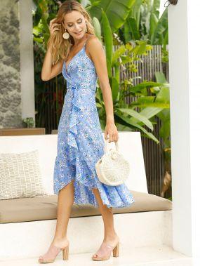 Платье на запах с оборкой и цветочным принтом