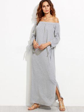 Серое макси платье с открытыми плечами с разрезом