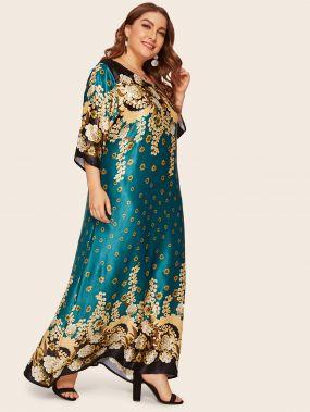 Длинное платье с цветочным принтом размера плюс