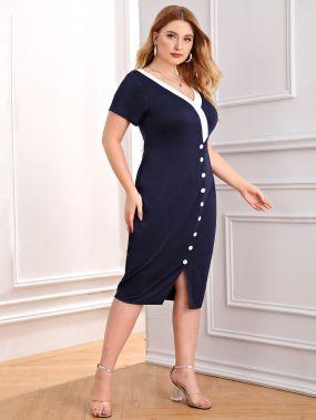 Контрастное платье размера плюс с v-образным вырезом