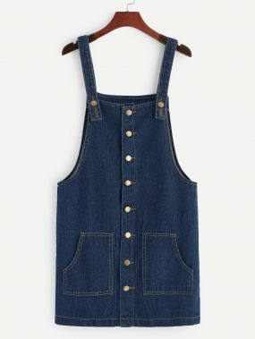 Однобортное джинсовое платье с карманом