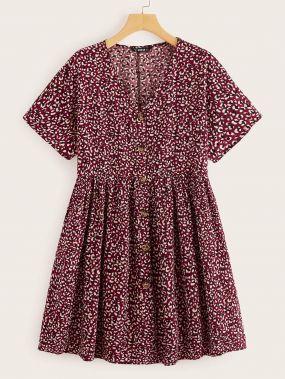 Отрезное Короткое Платье С Цветочным Принтом