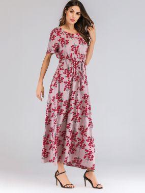 Длинное платье с невидимыми карманами кулиской на талии и цветочным принтом