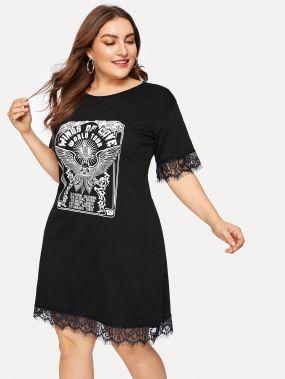 Размера плюс платье с кружевами и текстовым принтом