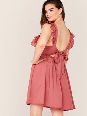 Расклешенное платье размера плюс с узлом сзади