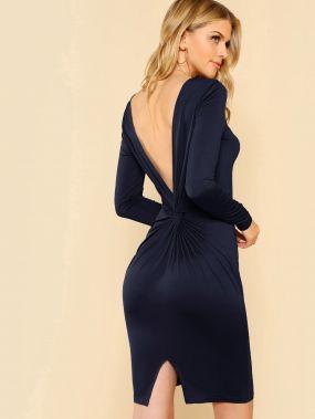 Сплит-платье с открытой спиной