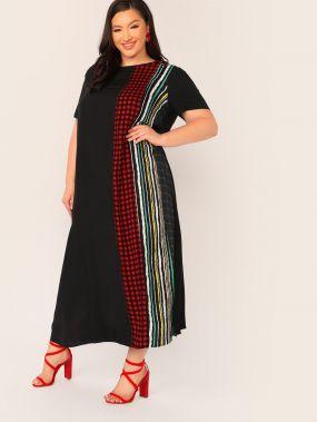 Контрастное платье размера плюс со смешанным принтом