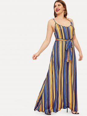 Размера плюс красочное полосатое платье на бретелях с поясом