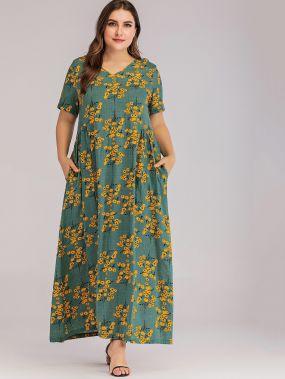 Длинное платье размера плюс с карманом и цветочным принтом