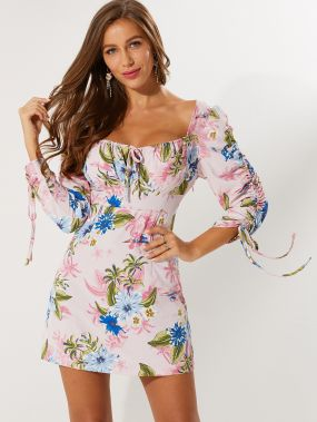 Платье с цветочным принтом и кулиской
