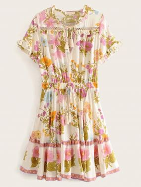Платье на шнуровке с цветочным принтом