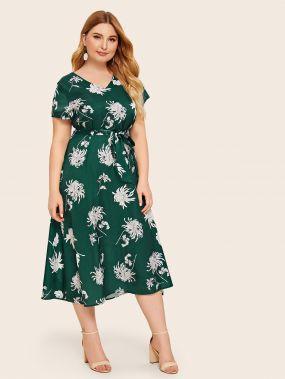 Платье размера плюс с v-образным вырезом, цветочным принтом и поясом