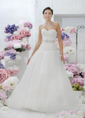 Корсетное свадебное платье с заниженной талией NPV020