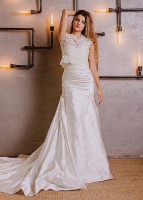 Атласное платье-русалка с болеро NPV026