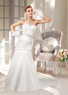 Свадебное платье-русалка с плиссерованной юбкой NPV004
