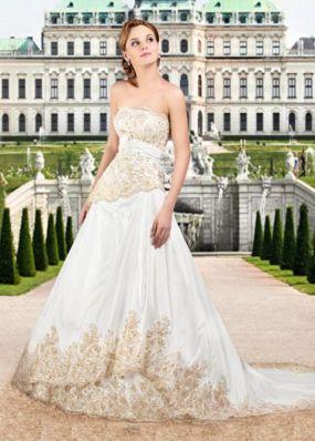 Свадебное платье с золотым кружевом NPV007